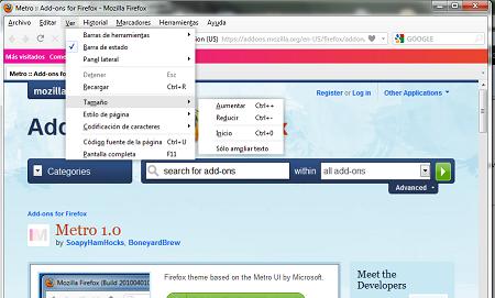 Firefox con Metro, la interfaz de Windows Phone 7