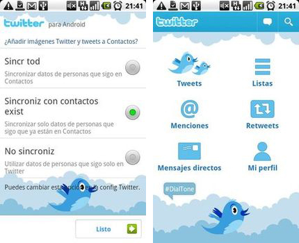 App oficial de Twitter para Android 2.1