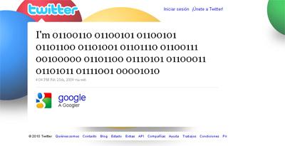 El primer tweet de Google