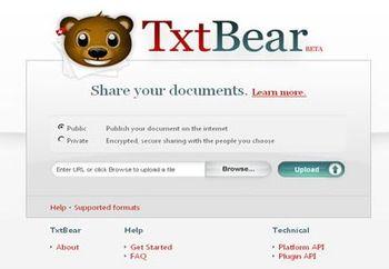 Con TXTBear comparte tus archivos en la nube